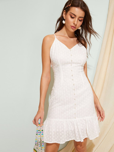 Ruffle Hem Solid Cami Dress