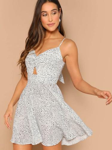 Dalmatian Print Twist Peekaboo Cami Dress