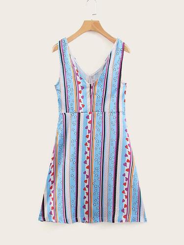 Heart & Geo Print Dress
