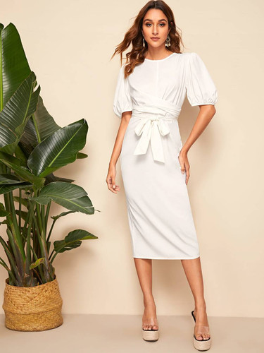 Solid Lantern Sleeve Wrap Belted Pencil Dress