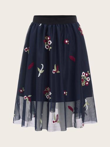 60s Elastic Waist Embroidered Mesh Overlay Skirt