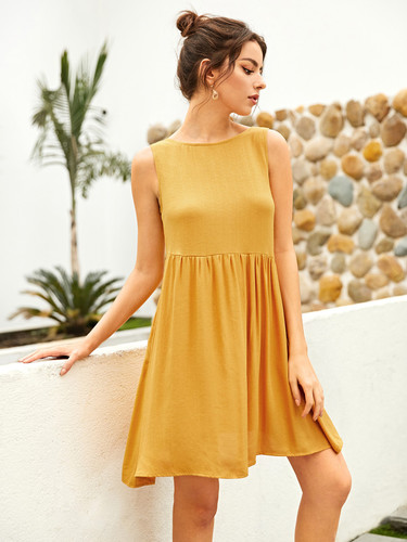 Solid Cut Out Back Swing Dress