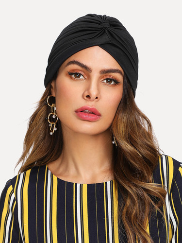 Pleated Plain Turban Hat