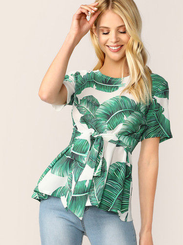 Tropical Print Blouse With Belt