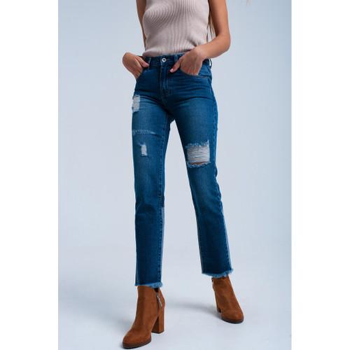 Worn straight jeans
