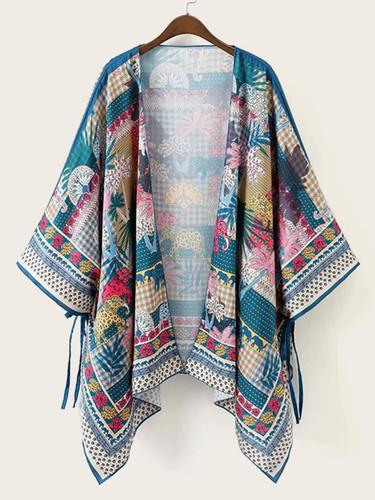 Hanky Hem Knot Side Animal Print Kimono