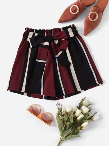 Self Tie Striped Shorts