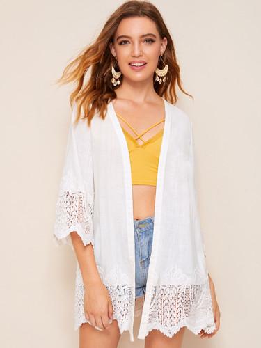 Solid Guipure Lace Trim Kimono