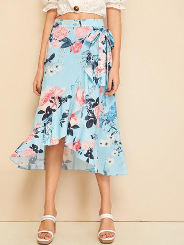 Floral Print Wide Waistband Wrap Asymmetrical Skirt