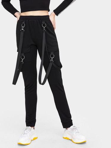Elastic Waist Tape Detail Dual Pocket Pants