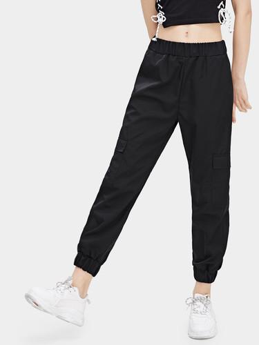 Elastic Waist Pocket Detail Pants
