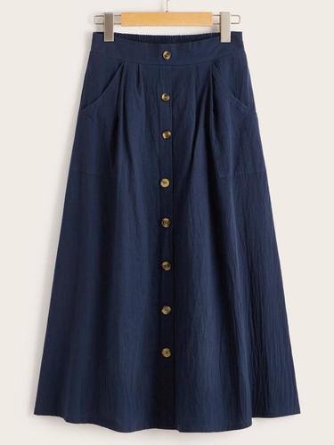 Trim Button Front Dual Pocket Skirt