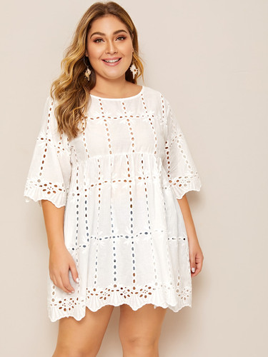Plus Solid Eyelet Embroidery Babydoll Blouse