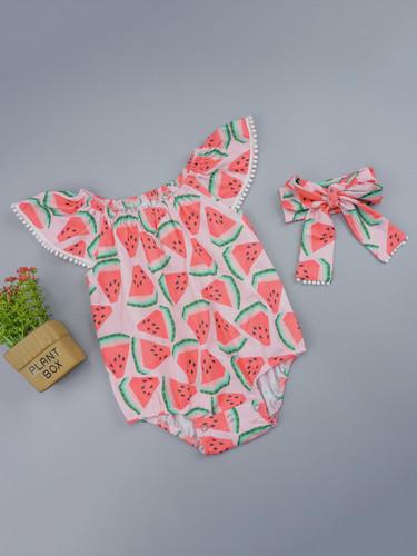 Baby Girl Watermelon Print Pom Pom Trim Romper & Headband