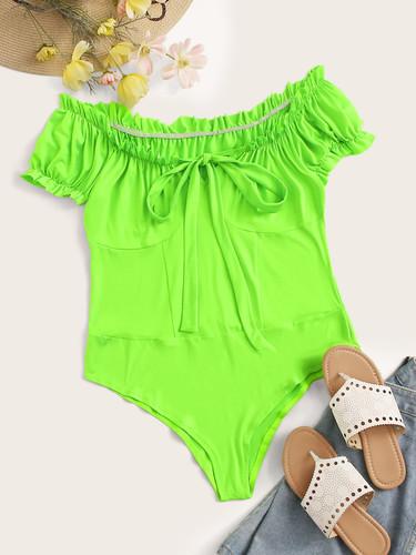 Plus Neon Green Knot Frill Bodysuit