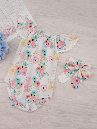 Baby Floral Print Contrast Lace Romper With Headband