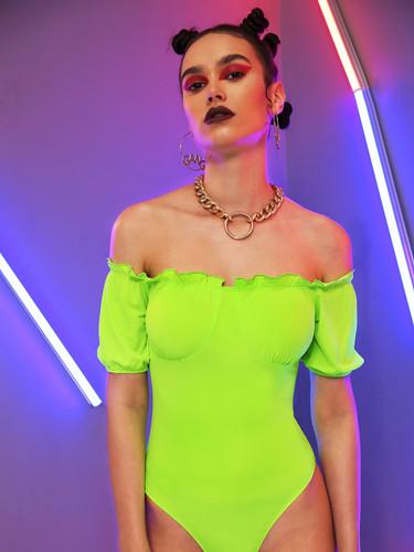 Neon Green Frill Trim Bustier Skinny Bodysuit