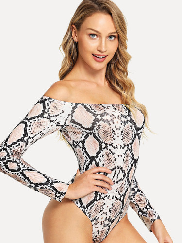Slim Fitted Snake Print Bardot Bodysuit