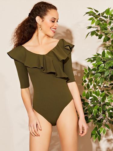Ruffle Bardot Bodysuit