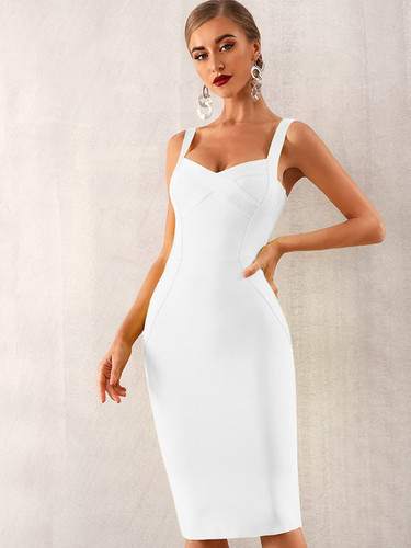 Adyce Solid Zip Back Bandage Slip Dress