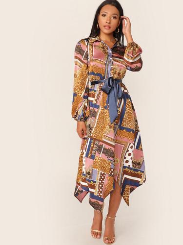 Scarf Print Hanky Hem Belted Dress