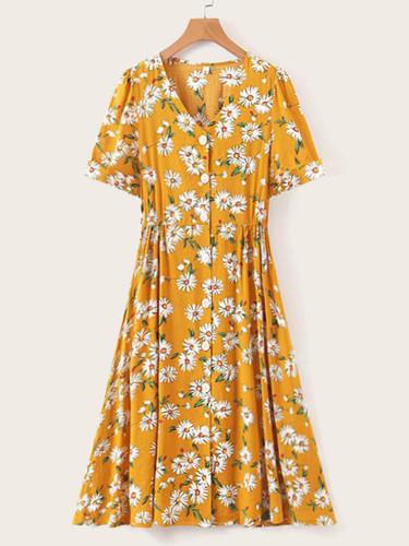 Daisy Print Button Front Shirt Dress