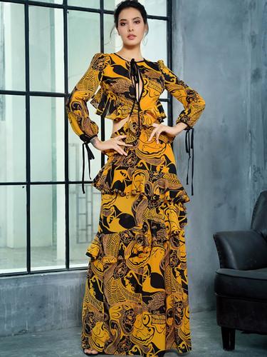 LOVE&LEMONADE Tribal Print Ruffle Trim Backless Maxi Dress