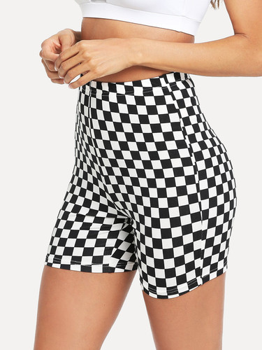 Checked Print Cycling Shorts