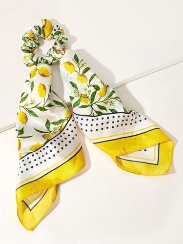 Lemon Pattern Scrunchie Scarf