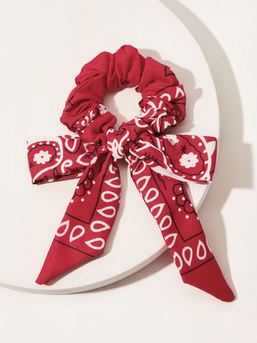 Bow Knot Flower Pattern Scrunchie