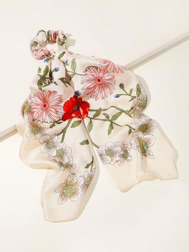 Flower Pattern Hair Scrunchie Scarf 1pc