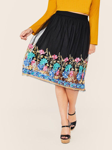 Plus Elastic Waist Embroidery Mesh Flare Skirt