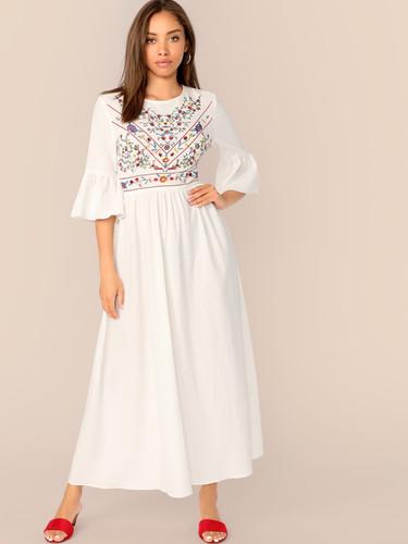 Embroidery Print Flounce Sleeve Flare Dress