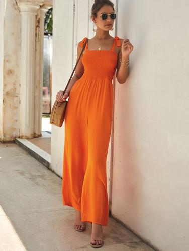 Neon Orange Shirred Knot Wide Leg Jumpsuit