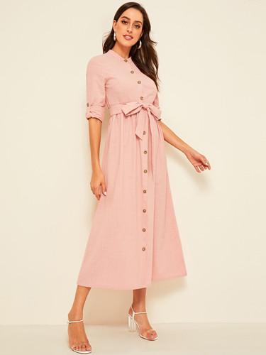 Roll Sleeve Button Up Belted Shirt Dress