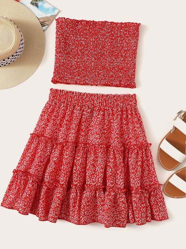 Ditsy Floral Shirred Bandeau & Layered Ruffle Skirt Set