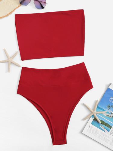 High Waist Bandeau Bikini Set
