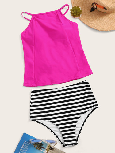 Neon Pink Lace-up Top With Striped Tankini Set