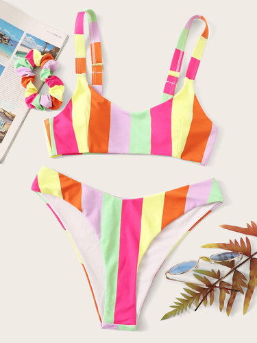 Striped High Cut Bikini Set With Hair Tie (v. Multicolor)