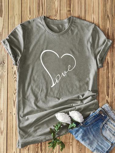 Heart Print Short Sleeve Tee