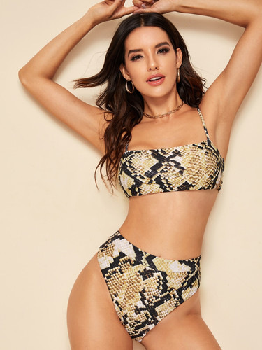 Snakeskin Print Top With High Waist Bikini Set