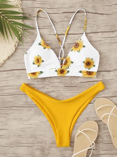 Sunflower Print Lace Up Back Bikini Set