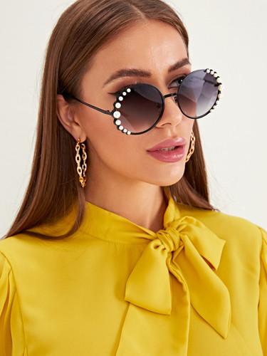 Faux Pearl Decor Round Frame Sunglasses