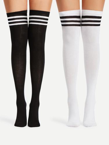 Striped Over The Knee Socks 2pairs (v. Black and white)