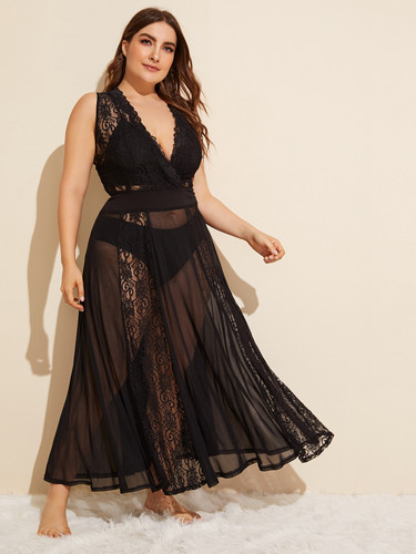 Plus Contrast Lace Sheer Mesh Dress Without Lingerie Set