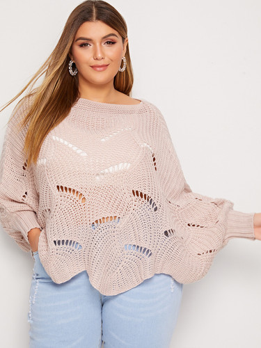 Plus Batwing Sleeve Cut Out Jumper