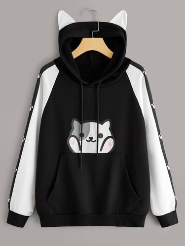 Cat Print Kangaroo Pocket Hooded Sweatshirt