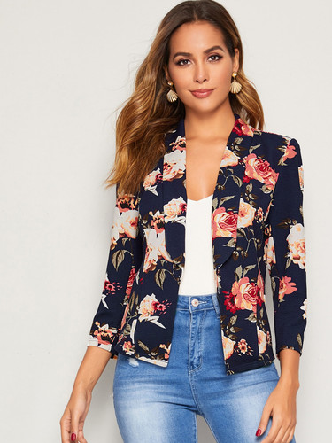 Floral Print Shawl Collar Blazer (v. Navy)