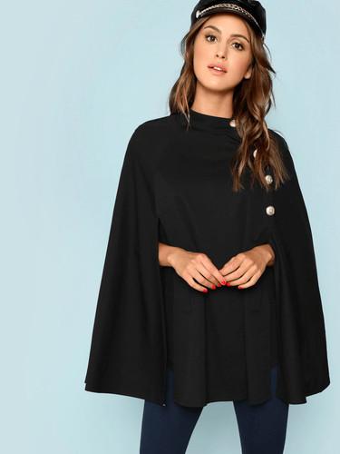 Buttoned Front Cape Coat