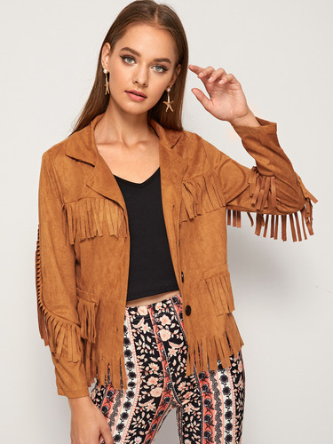 Fringe Detail Single Breasted Suede Jacket